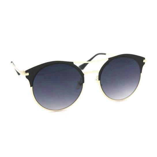 Óculos de Sol Estilo Top Bar com Lente Redonda - Preto - Compre ... 9ae577100b