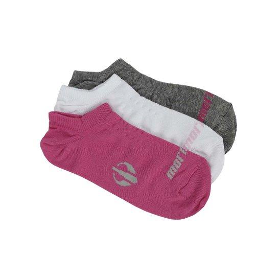 c042f84a2 Kit com 03 Meias Femininas Mormaii Rosa branco cinza - Rosa+Branco