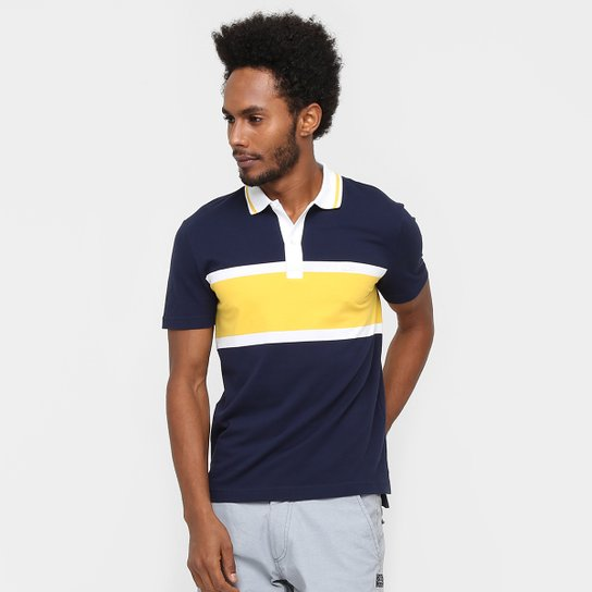 facc0014da0e Camisa Polo Lacoste Piquet Fancy Regular Fit - Marinho+Amarelo