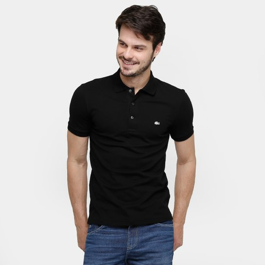 011e7bb9d27eb Camisa Polo Lacoste Piquet Slim Masculina - Preto - Compre Agora ...
