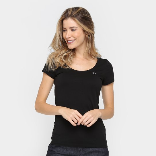 32047ee7db Camiseta Lacoste Decote Canoa Feminina - Preto