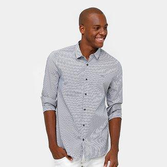 f96de2e44af Camisa Calvin Klein Slim Fit Listras Masculina