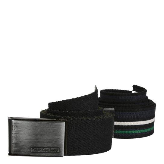 Kit Cinto Calvin Klein Lona Listrado Liso Masculino - Compre Agora ... 9f1dcd00fd