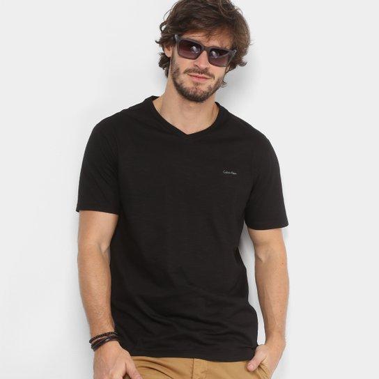 Camiseta Calvin Klein Slim Gola V Masculina - Compre Agora   Zattini f0a0533050