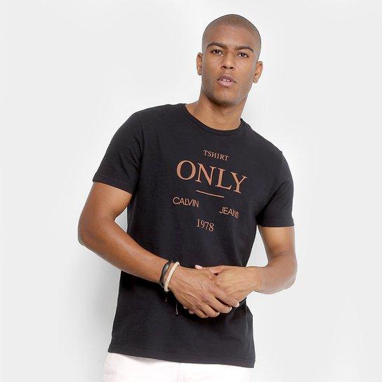 2f78ac2d82087 Camiseta Calvin Klein T-Shirt Only Masculina - Preto - Compre Agora ...