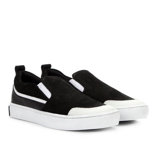 Slip On Couro Calvin Klein Recortes Masculino - Preto - Compre Agora ... 2cd50ac3db