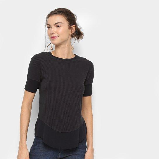 63a08dfcb5518 Blusa Calvin Klein Canelada Recortes Feminina - Preto - Compre Agora ...