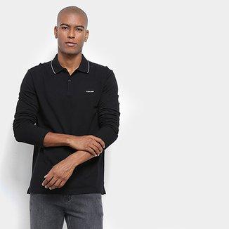 7d4f288b1d Camisa Polo Calvin Klein Manga Longa Slim Masculina