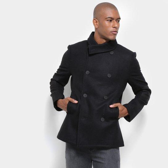 b7f2244a8 Casaco Lã Calvin Klein Masculino Gola Assimétrica Botões Masculino - Preto