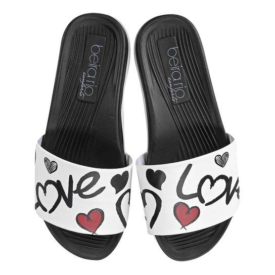 4f0929b80f22cf Chinelo Beira Rio Slide Love Feminino - Preto e Branco