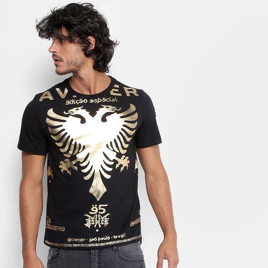 0bad72661 Camiseta Cavalera Gola Careca Águia Foil Ouro Masculina - Compre ...