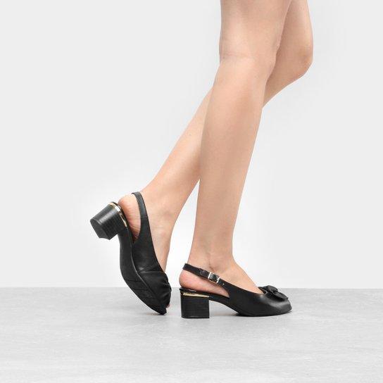 5c2b08f0e3 Peep Toe Couro Comfortflex Salto Grosso Chanel Laço - Preto
