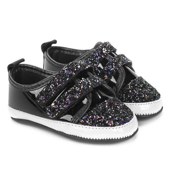 67f930462 Tênis Infantil Molekinha Velcro Glitter Feminino - Preto - Compre ...