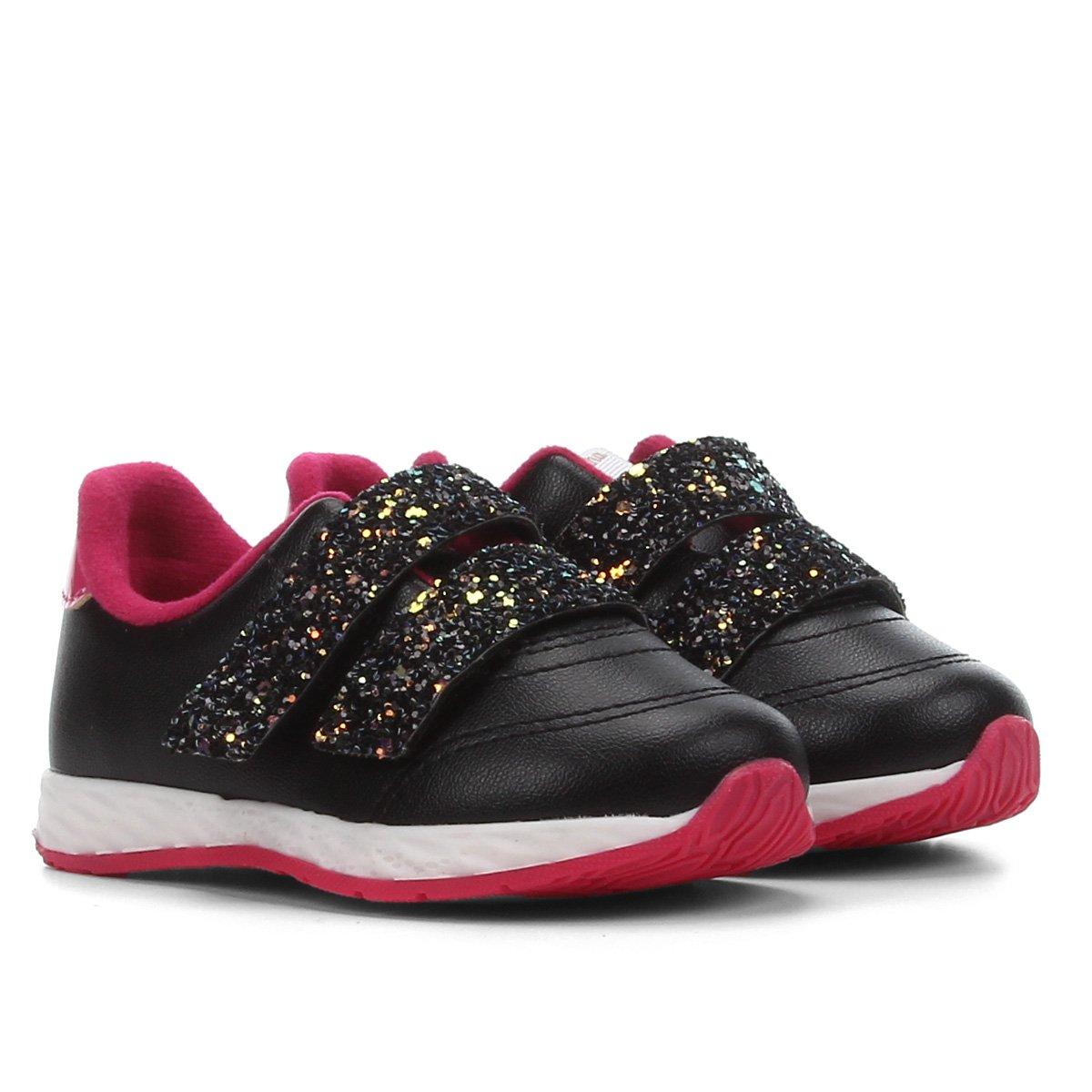 Tênis Bebê Molekinha Jogging Tiras Glitter Feminino