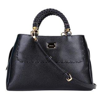 8f89470ac Bolsa Couro Luz da Lua Handbag Plaquinha Feminina