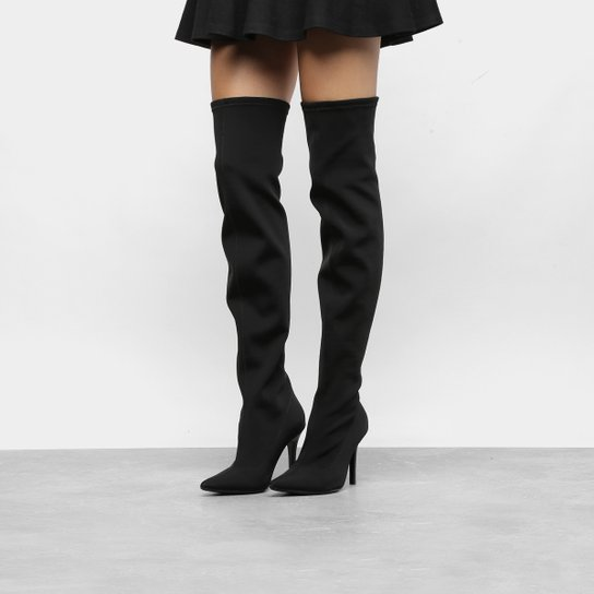 faa63017b Bota Meia Over The Knee Via Marte Salto Fino Feminina - Preto ...