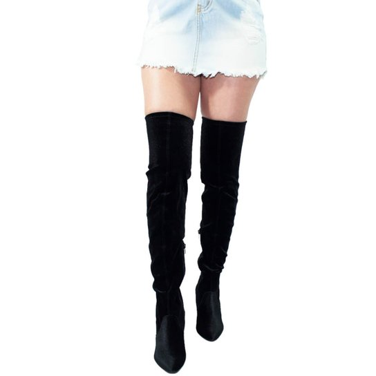 326a7a793 Bota Over The Knee Via Marte Veludo Strech - Compre Agora