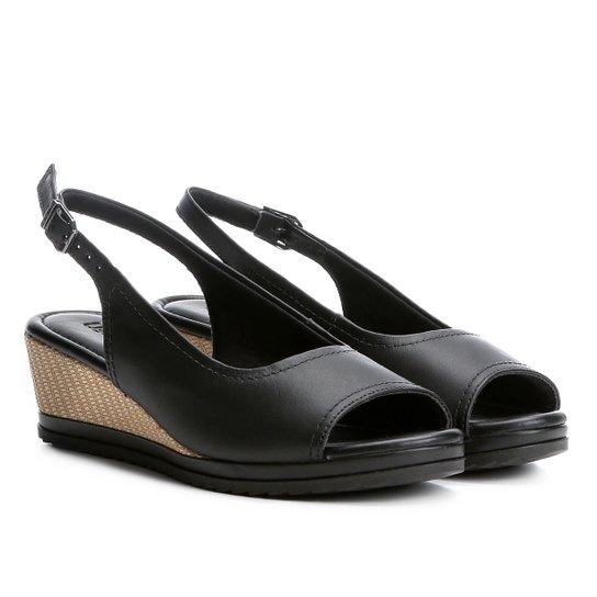 Sandália Couro Anabela Usaflex Chanel Feminina - Compre Agora  bb2e01482f7e0