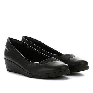 d68f56388 Sapato Couro Usaflex Anabela Salto Baixo Feminino