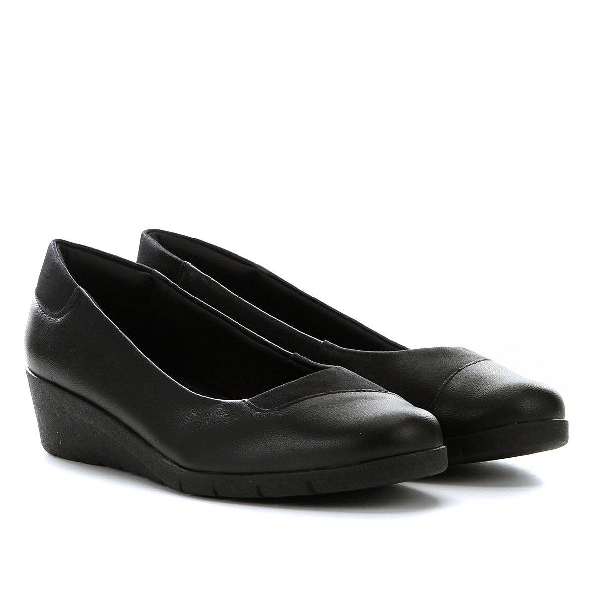 c07221a19 Sapato Couro Usaflex Anabela Salto Baixo Feminino
