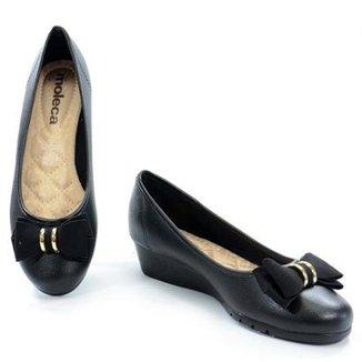 5b49909b9 Sapato Moleca Anabela Baixo Napa Feminino