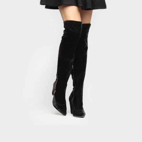 Bota Over The Knee Crysalis Bico Fino Veludo Feminina - Compre Agora ... ecee2ccb5450b