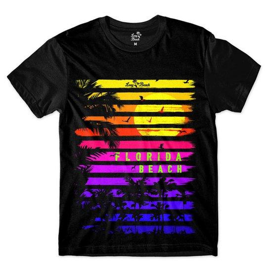 Camiseta Long Beach Coleção Praias Floarida Beach Sublimada - Preto ... 98fd8c7c7ce