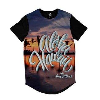 ee630a89a321c Camiseta Longline Long Beach Hawaii Pôr do Sol Masculina