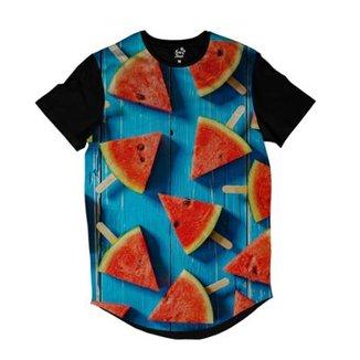 5fbbbf01bb22d Camiseta Longline Long Beach Melancias Sublimada