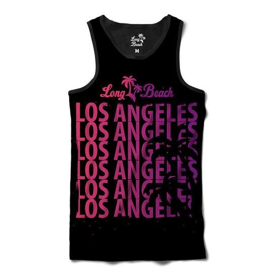 Camiseta Regata Long Beach Coleção Praias Los Angeles Vibe Sublimada  Masculina - Preto 1a1baf6eb56