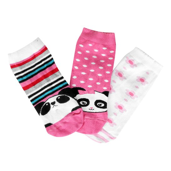 3c3cc82a3 Kit Meia Infantil Lupo Desenhos 3 Pares Feminina - Rosa+Branco