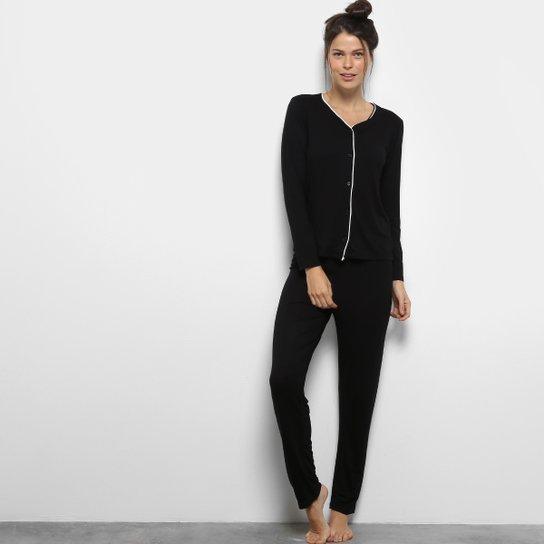 0433b84ce Pijama Lupo Básico Longo Feminino - Preto - Compre Agora