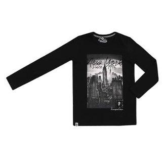 b66836a1c6fd1 Camiseta Mnaga Longa Infantil Paco Kids New York Masculina