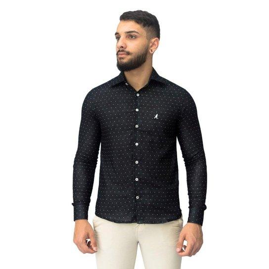 ad6b46d0ac Camisa Social Slim Estampada 3002 - Preto