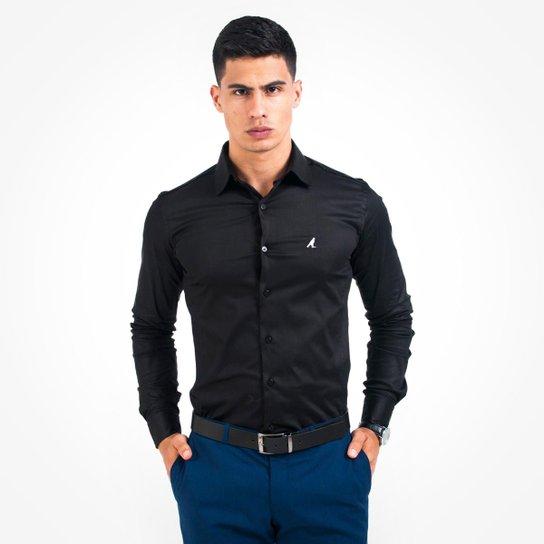 112f87c9cf10c Camisa Social Masculina - Super Slim - Preto - Compre Agora