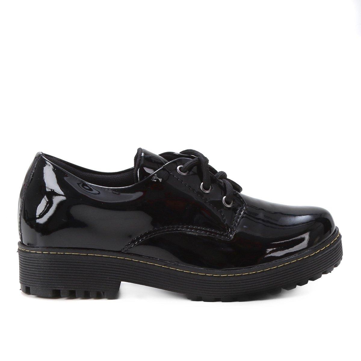 Ankle Boot Look Fashion Verniz Tratorada