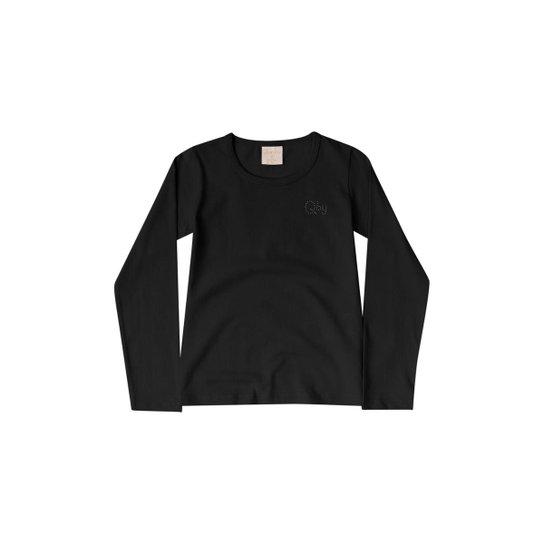 Blusa Infantil Cotton Quimby Feminina - Preto - Compre Agora  3f48e7b9310