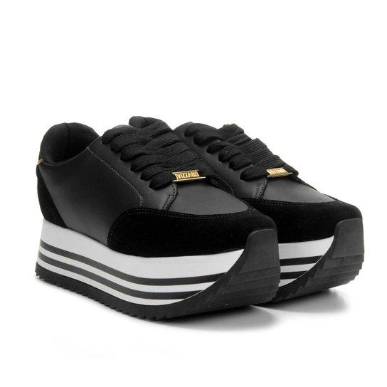 3a9de8ac8 Tênis Vizzano Plataforma Jogging Listras Detalhe Metalizado Feminino - Preto
