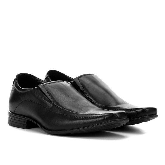 3c52b6ab4 Sapato Social Couro Pegada Sem Cadarço Básico Masculino - Preto ...
