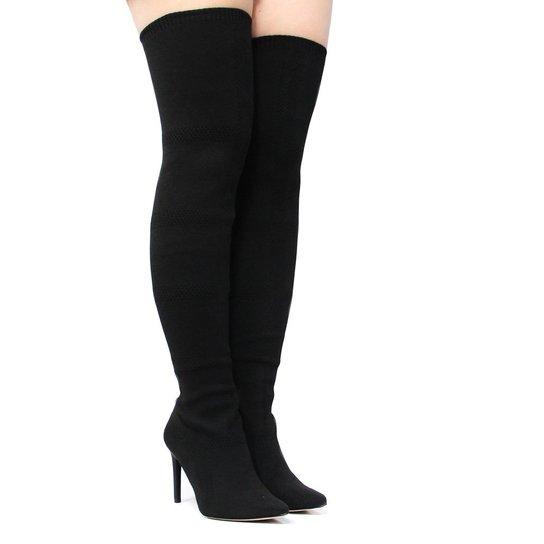 5d48bf1472 Bota Tanara Over The Knee Malha Salto Fino Feminina - Compre Agora ...