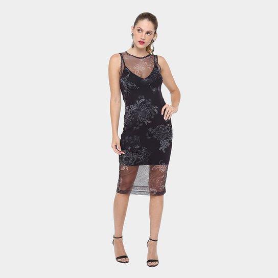 6a878225c Vestido Colcci Midi Tule Estampado - Compre Agora
