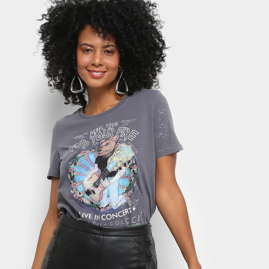 494e46ef4 Camiseta Colcci Manga Curta Silk Feminina | Zattini