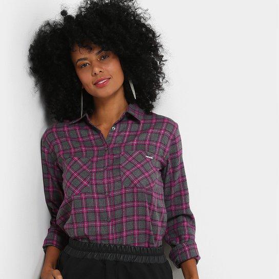 3d8f51946 Camisa Xadrez Colcci Manga Longa Lurex Feminina - Cinza+Rosa