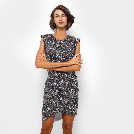 5870488d7 Vestido Assimétrico Colcci Estampado - Preto   Zattini