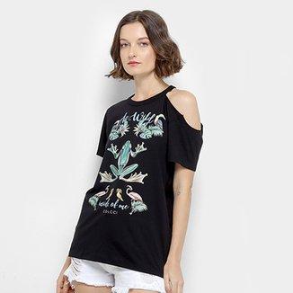 cb42d0e66 Camiseta Colcci Sapos e Flamingos Feminina