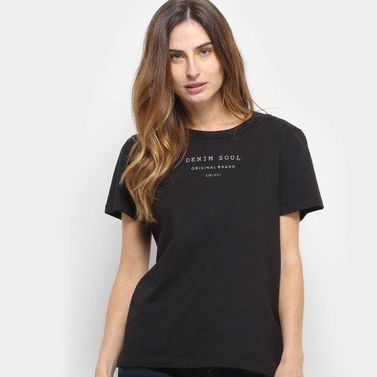 a3152acdf Camiseta Colcci Estampa Básica Feminina - Preto - Compre Agora