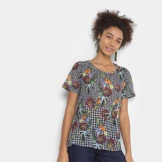 61914f1bdd Camiseta Cantão Vichy Floral Feminina