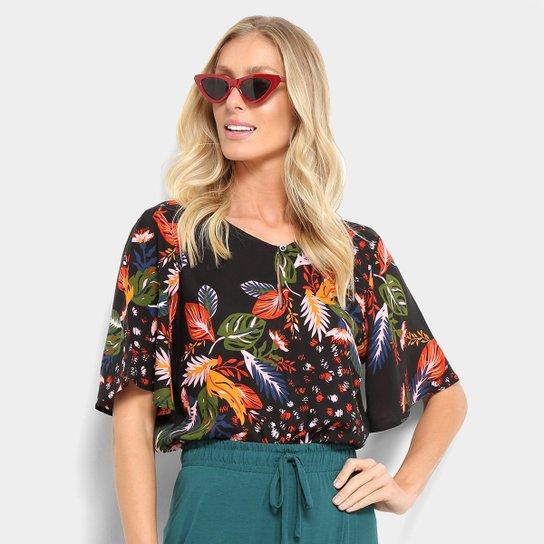 5ab88a35d1 Blusa Cantão Estampa Floral Feminina - Preto - Compre Agora