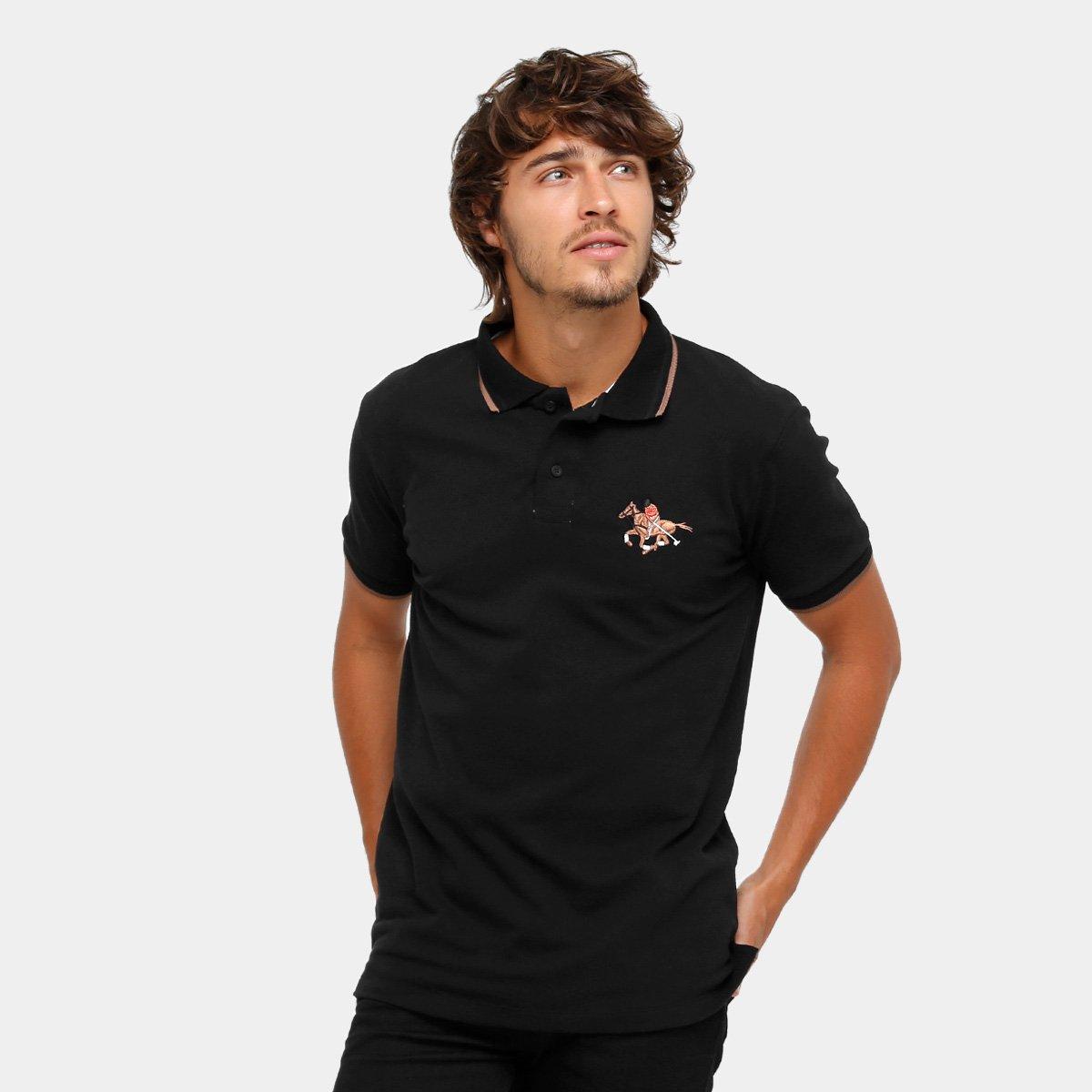 c016dbee4 Camisa Polo RG 518 Malha Frisos Bordada Masculina