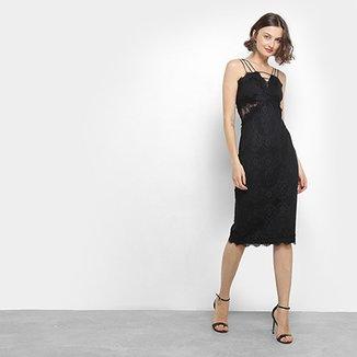 Vestido tubinho de festa - Preto ou branco com renda e modelagem justa
